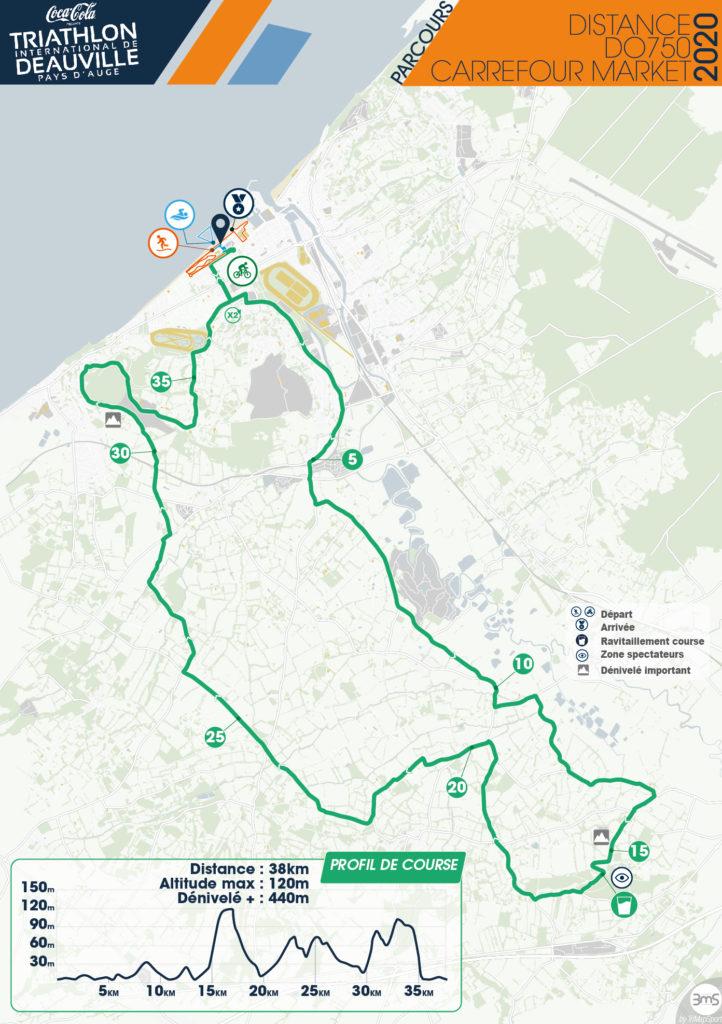 Parcours cycliste DO750 triathlon deauville