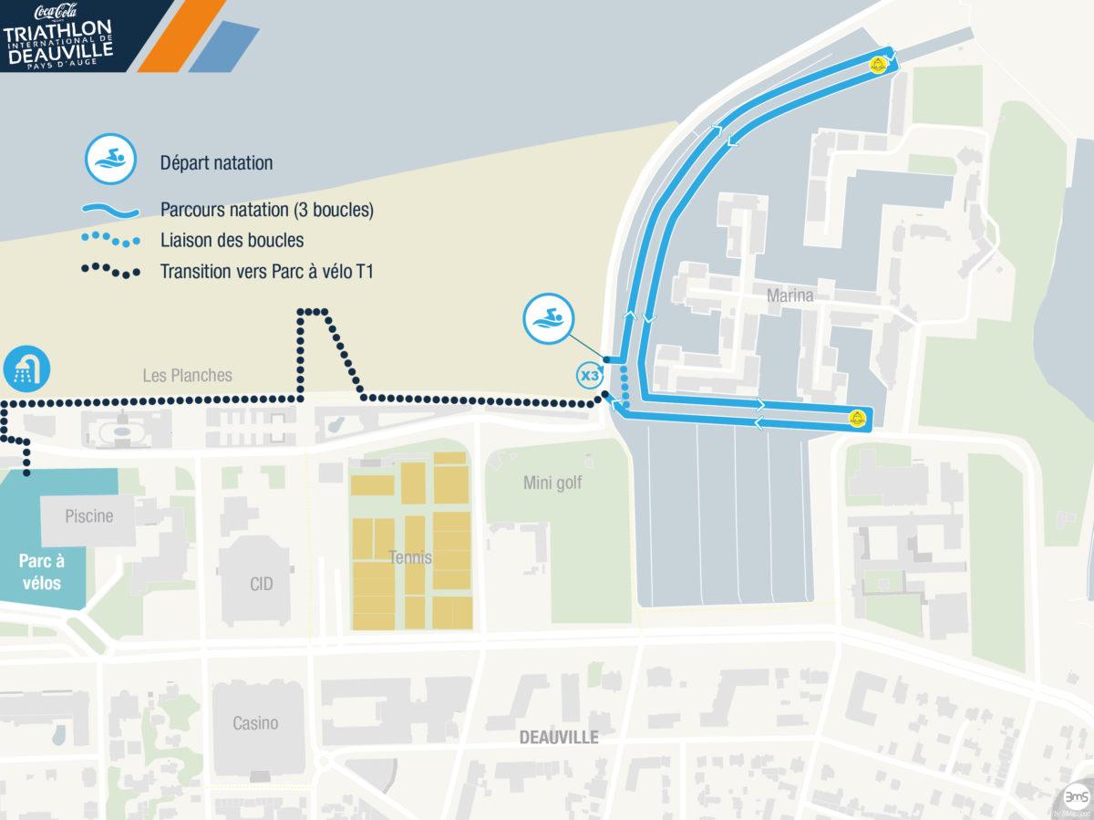 Full Distance parcours natation triathlon de Deauville